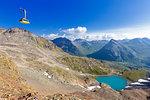 Diavolezza cableway transit above Diavolezza Lake, Bernina Pass, Engadine, Graubunden, Switzerland, Europe