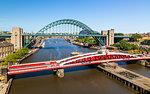 River Tyne, Swing Bridge, Tyne Bridge and Church of St. Willibrord, Newcastle, Tyne and Wear, England, United Kingdom, Europe