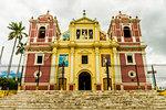 A view of the colourful Church of El Calvario, Leon, Nicaragua, Central America