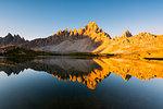 Alpine lake in the morning, Laghi dei Piani, Tre Cime di Lavaredo Natural Park, Dolomites, Bolzano Province, Trentino-Alto Adige, Italy, Europe