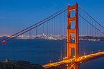 View of Golden Gate Bridge from Golden Gate Bridge Vista Point at dusk, San Francisco, California, United States of America, North America