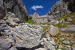 St. Govan's Chapel built into the cliffs near St. Govan's Head, Pembrokeshire, Wales, United Kingdom, Europe
