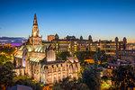 Glasgow Cathedral and Royal Infirmary at dusk, Glasgow, Scotland, United Kingdom, Europe