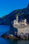 Island of Palmaria, view of Portovenere from Palmaria, to the Church of San Pietro, Liguria, Italy, Europe