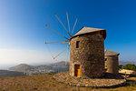 Windmills in Chora, Patmos, Dodecanese, Greek Islands, Greece, Europe
