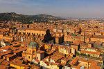 View over the Piazza Maggiore, from the Asinelli Tower (Torre degli Asinelli), Bologna, Emilia-Romagna, Italy, Europe