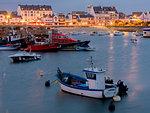 Quiberon port at dusk, Morbihan, Brittany, France, Europe