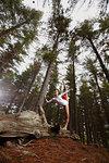 Dancer posing on log in forest