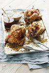 Platter of roast chickens