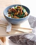 Bowl of stir fry pork with rice