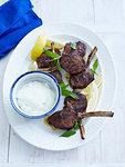 Plate of lamb mint and yogurt