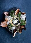 Plate of mushroom with salad