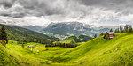 Green valley, Heiligkreuz, Alta Badia South Tyrol, Italy