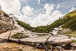 Rustic bridge, Fanes Hochebene, Alta Badia South Tyrol, Italy