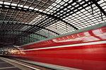 Alexander platz station and  moving train, Berlin, Germany
