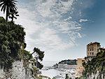 View of cliffs and harbor, Monte Carlo, Monaco