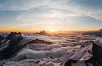Above the clouds at sunrise, Bavarian Alps, Oberstdorf, Bavaria, Germany