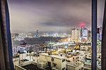 City viewed through window, Hong Kong, China
