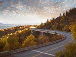Highway curving through Blue Ridge Parkway, North Carolina, USA