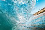 Curving ocean wave, Encinitas, California, USA