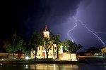 Fork lightning and Throckmorton County Courthouse illuminated at night, Texas, USA