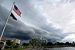 A shelf cloud or arcus cloud looms over Cocoa, Florida, USA