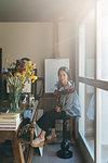 Woman working in her studio