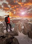 Hiker enjoying scenery, Chamonix-Mont-Blanc, Rhone-Alpes, France