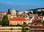 View over Vltava River towards Lesser Town, Prague, Bohemia Region, Czech Republic, Europe