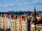 Architecture of the Nove Mesto (New Town), Masarykovo Street, elevated view, Prague, Bohemia Region, Czech Republic, Europe