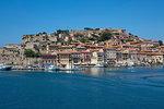 Harbour and Fortezze Medicee, Portoferraio, Elba, Tuscan Islands, Italy, Europe