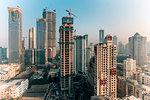 City skyline of modern office and residential buildings, Mumbai, Maharashtra, India, Asia