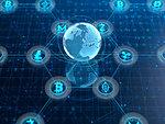 Cryptocurrency symbols on digital background. New virtual money - bitcoin, ethereum, litecoin, monero, ripple, dash, zcash. 3d illustration.