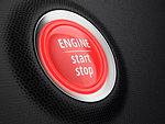 Start button of engine on car dashboard. Stop-start system. 3D illustration.