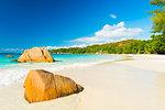 Beautiful and a famous beach Anse Lazio with granite boulders, Praslin island, Seychelles.