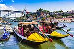 Tour boats at dock in the harbor in Porto, Norte, Portugal