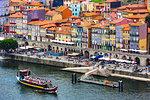 Waterfront and tour boat in Porto, Norte, Portugal