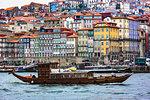 Traditional boat in the harbor in Porto, Norte, Portugal