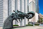'Non-Violence' sculpture by Swedish artist Carl Fredrik Reutersward, United Nations Headquarters in New York City, New York, USA