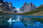 Blue iceberg, pyramidal peaks, glacier, rugged South Skjoldungen Fjord and Island, glorious weather, remote East Greenland, Denmark, Polar Regions