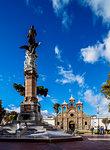 Maldonado Monument and San Pedro Cathedral, Maldonado Park, Riobamba, Chimborazo Province, Ecuador, South America
