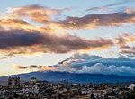 View over Riobamba towards Chimborazo Volcano at sunset, Chimborazo Province, Ecuador, South America