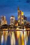 Skyline and Iron Bridge at dusk, Frankfurt, Hesse, Germany, Europe