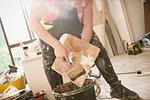 Construction worker plastering