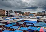 Saturday Handicraft Market, Plaza de los Ponchos, elevated view, Otavalo, Imbabura Province, Ecuador, South America