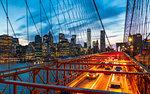 Manhattan skyline from the Brooklyn Bridge at night, New York, United States of America, North America