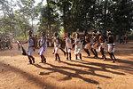 Dhurua tribal men and women performing rare traditional tribal dance to celebrate festival of Shivraatri, Gupteswar, Odisha, India, Asia