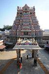 One of the ornate, carved and painted gopuram of the 11th century Brihadisvara Cholan temple, Thanjavur, Tamil Nadu, India, Asia