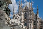 View of the Duomo di Milano and Vittorio Emanuele II in Piazza Del Duomo, Milan, Lombardy, Italy, Europe