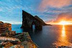 Drangarnir at sunset, Vagar island, Faroe Islands, Denmark, Europe